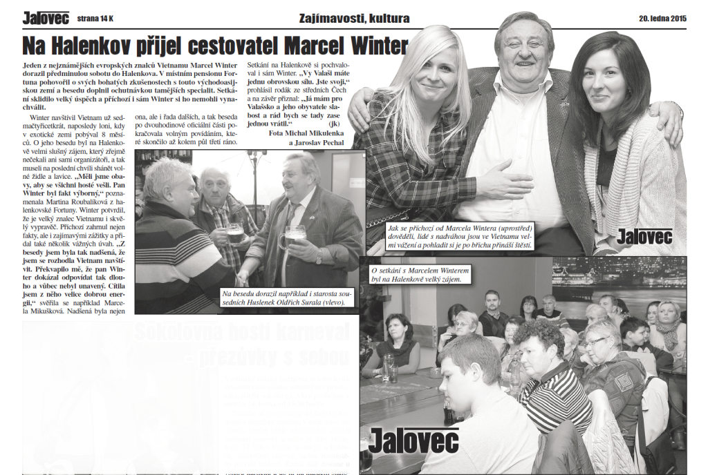 Časopis Jalovec 20.1.2015 - o akci ČVS na Valašsku. Vietnam nadchnul posluchače!