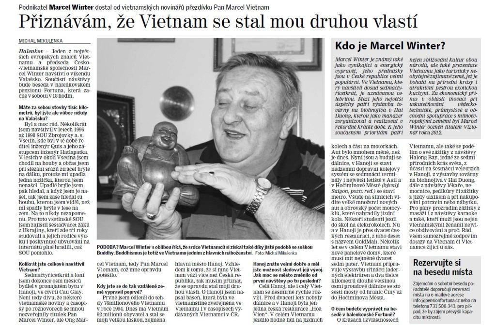 O akci ČVS a přednášejícím M. Winterovi informoval Valašský deník 9. 1. 2015