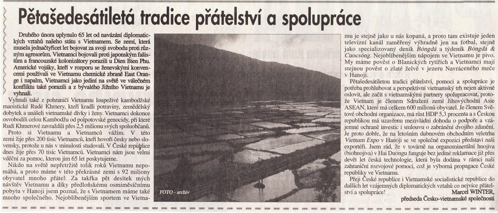 PŘÍSPĚVEK PŘEDSEDY ČVS V HALÓ NOVINÁCH 23.2.2015
