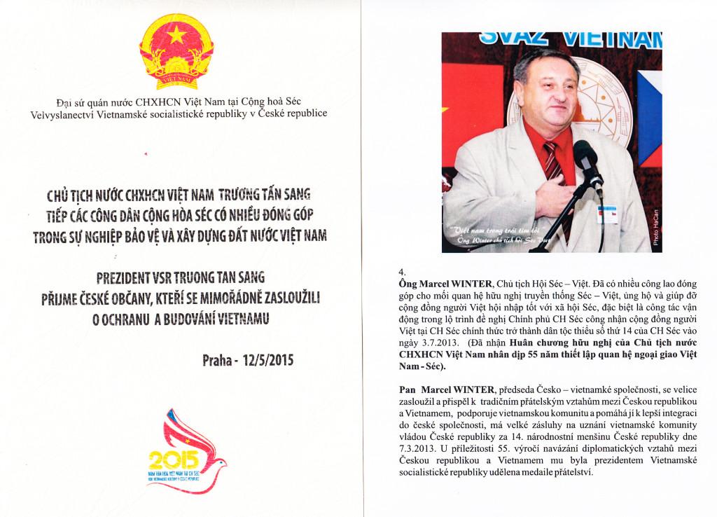 Prezident VSR ocenil Marcela Wintera 12.5.2015