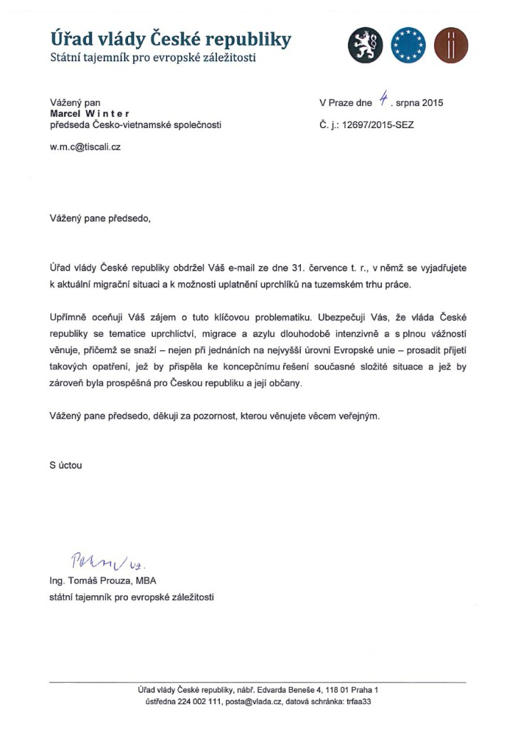 Odpověď z Úradu vlády ČR ze dne 4.8.2015