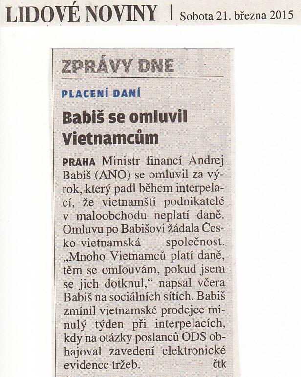 Deník LIDOVÉ NOVINY 21. 3. 2015